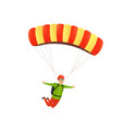 parachute jump happy paratrooper descends with a vector image