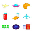 pathway icons set cartoon style vector image vector image
