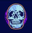 psychedelic head skull bones vector image