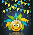 rio party carnaval festive banner smile emoji vector image vector image