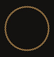 round frame made with golden chain on black vector image vector image