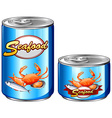 Seafood in aluminum cans vector image vector image