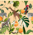 seamless pattern with exotic trees and animals vector image vector image
