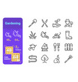 set gardening simple lines icons equipment and vector image vector image