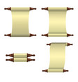 set of 3 empty scrolls unrolled vertically and a vector image