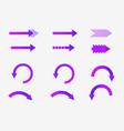 set of neon direct arrows vector image vector image