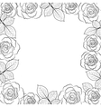Simple floral frame in black isolated on white vector image vector image