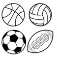 sports balls minimal flat line icon set soccer vector image