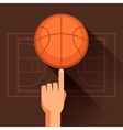 Sports of hand spinning basketball ball vector image vector image