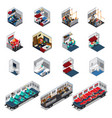 train interior isometric set vector image vector image
