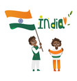 two boys kids teenagers with indian flags vector image vector image