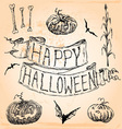 Vintage Hand Drawn Halloween Set Seven vector image vector image
