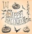 Vintage Hand Drawn Halloween Set Seven vector image