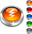 warning 3d button vector image