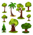 different green trees set of vector image