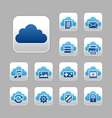 Cloud computing icon set blue metallic theme vector | Price: 1 Credit (USD $1)