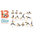 13 yoga poses for workout in deep relaxation vector image vector image