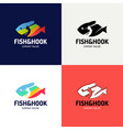 abstract colorful fish and fishing hook fishing vector image