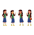 asian teen girl emotions poses set vector image vector image