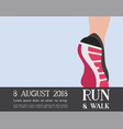 athlete runner feet running or walking on road vector image vector image
