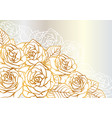 background with outline roses beautiful flowers vector image vector image