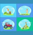 beekeeper on land and tractor vector image vector image