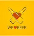 beer bottle concept we love beer design on yellow vector image