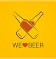 beer bottle concept we love design on yellow vector image vector image