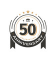 birtday vintage logo template to 50th anniversary vector image vector image
