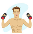 bodybuilder guy doing exercises with dumbbells vector image
