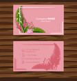 businesscard template with flowers on pink vector image