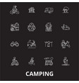 camping editable line icons set on black vector image