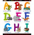 cartoon german alphabet with animals vector image vector image