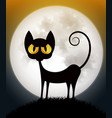 cat on spooky orange background with full moon vector image vector image