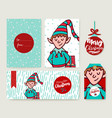 christmas holiday card template cartoon elf set vector image vector image