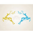Christmas vintage deer greeting card vector image