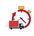 clock with arrow and truck van icon vector image