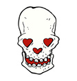 comic cartoon skull with love heart eyes vector image vector image