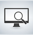 computer monitor and magnifying glass icon vector image vector image