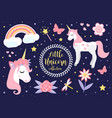 cute little unicorn set modern cartoon style vector image vector image