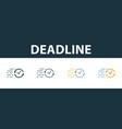 deadline icon set premium symbol in different vector image vector image