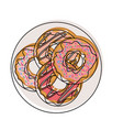 donuts with chocolate glaze on dish top view in vector image vector image