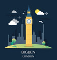 famous london landmark bigben vector image
