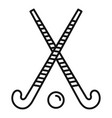 field hockey crossed sticks icon outline style vector image vector image