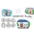flat post service concept vector image