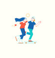 girl on rollerblades and boy on skateboard vector image
