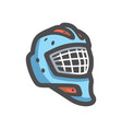 goalie helmet hockey icon cartoon vector image vector image