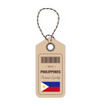 hang tag made in philippines with flag icon vector image vector image