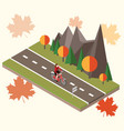isometric countryside autumn road woman cycling vector image