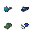 isometric transport set of lorry suv armored and vector image vector image